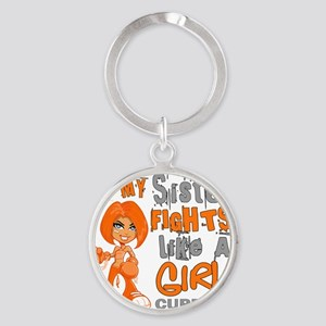 D Sister Fights Like Girl MS 42.9 Round Keychain