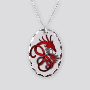 Norse Dragon - Red Necklace Oval Charm