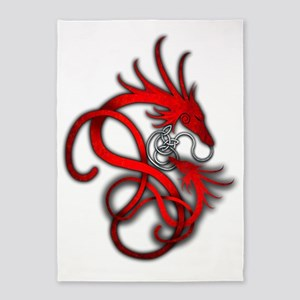 Norse Dragon - Red 5'x7'Area Rug