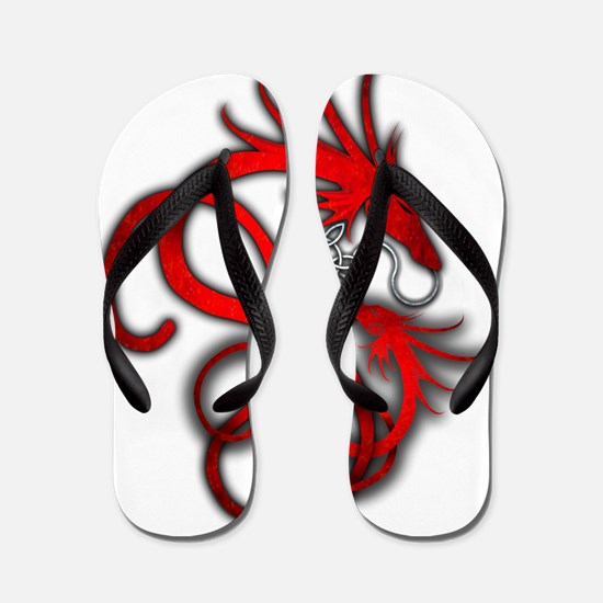 Norse Dragon - Red Flip Flops