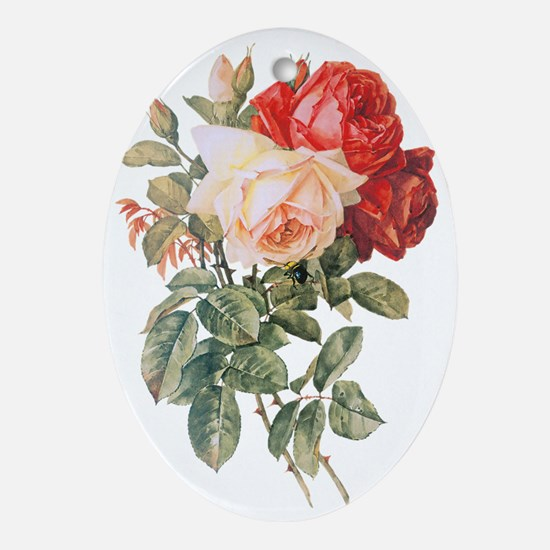 Three Roses Oval Ornament