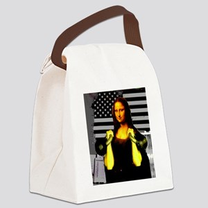 Mona Lisa Hits the Bells Canvas Lunch Bag