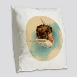 Vintage Angel Head and Wings Burlap Throw Pillow