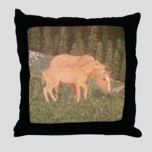 Mare and foal in field Throw Pillow