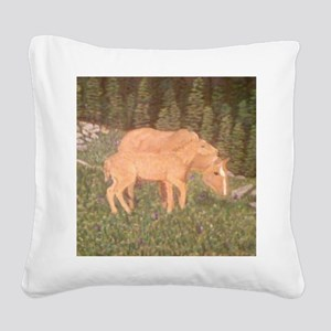 Mare and foal in field Square Canvas Pillow