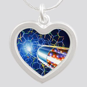 Drug development Silver Heart Necklace