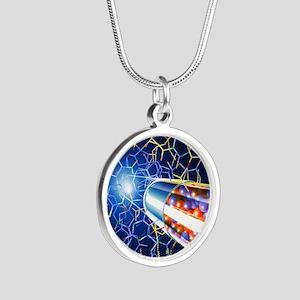 Drug development Silver Round Necklace