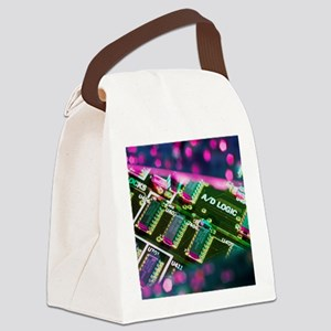 Electronic circuit board from a c Canvas Lunch Bag