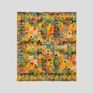 Spring Flower Patchwork Quilt Throw Blanket