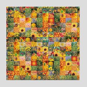 Spring Flower Patchwork Quilt Tile Coaster