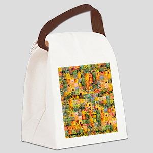 Spring Flower Patchwork Quilt Canvas Lunch Bag