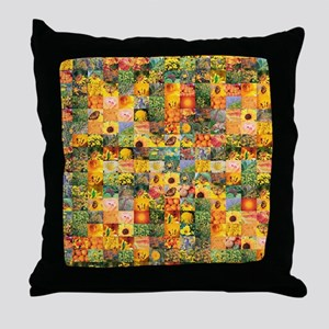 Spring Flower Patchwork Quilt Throw Pillow