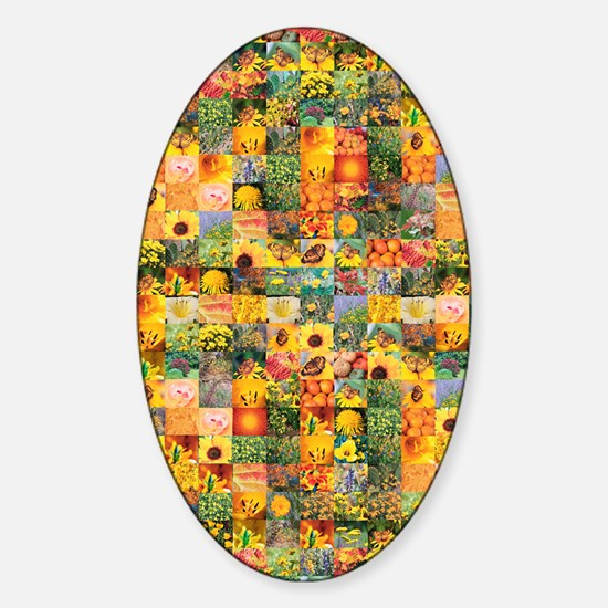 Spring Flower Patchwork Quilt Sticker (Oval)