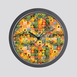 Spring Flower Patchwork Quilt Wall Clock