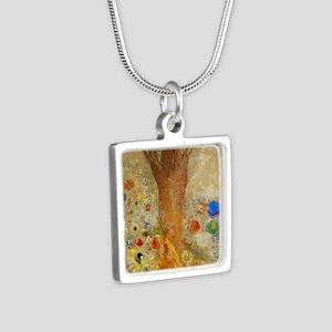 Odilon Redon Buddha In His Silver Square Necklace