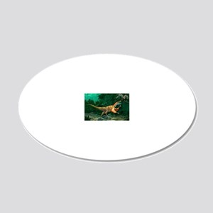 Feathered dinosaurs 20x12 Oval Wall Decal