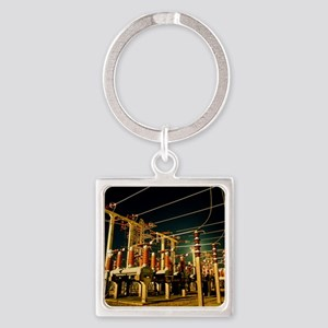 Electricity substation at night Square Keychain