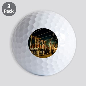 Electricity substation at night Golf Balls