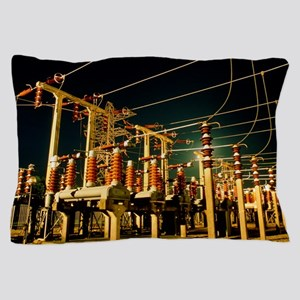 Electricity substation at night Pillow Case