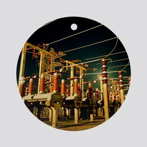 Electricity substation at night Round Ornament