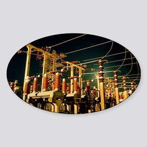 Electricity substation at night Sticker (Oval)