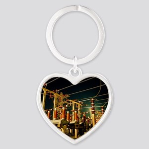 Electricity substation at night Heart Keychain