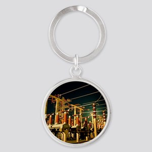 Electricity substation at night Round Keychain