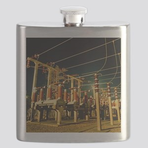 Electricity substation at night Flask