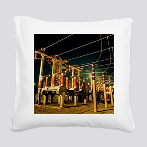 Electricity substation at nig Square Canvas Pillow