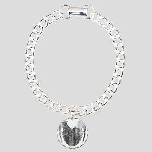Distressed Grenade Heart Charm Bracelet, One Charm