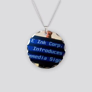 Electronic ink sign Necklace Circle Charm
