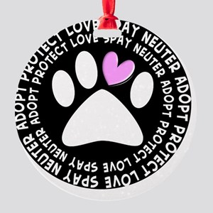 spay neuter adopt BLACK OVAL Round Ornament