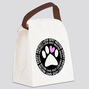 spay neuter adopt BLACK OVAL Canvas Lunch Bag
