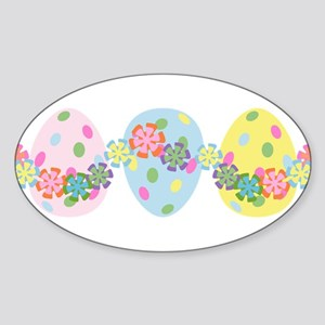 Easter Eggs 'N Garland Oval Sticker