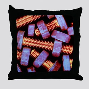 False-coloured photograph of nuts and Throw Pillow