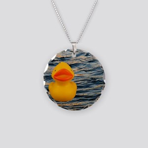 Duckie on the Water Necklace Circle Charm