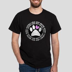 spay neuter adopt BLACK OVAL Dark T-Shirt