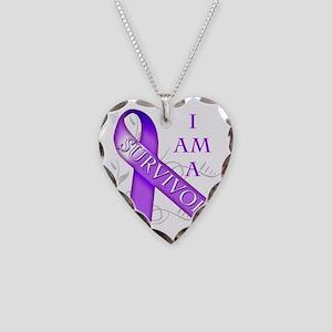 I Am a Survivor (purple) Necklace Heart Charm