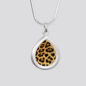 Leopard Print Silver Teardrop Necklace