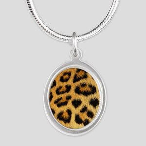 Leopard Print Silver Oval Necklace