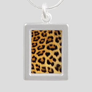 Leopard Print Silver Portrait Necklace