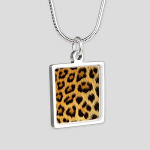Leopard Print Silver Square Necklace
