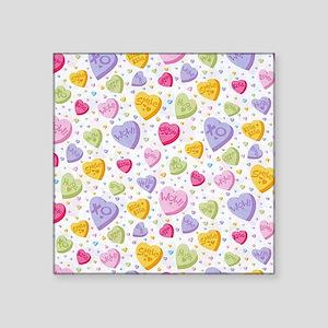 "Valentines Candy Hearts Square Sticker 3"" x 3"""