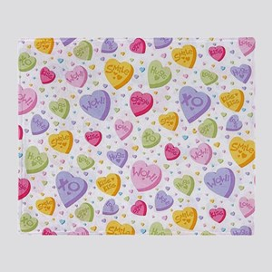 Valentines Candy Hearts Throw Blanket