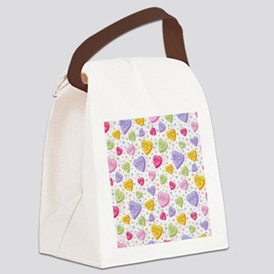 Valentines Candy Hearts Canvas Lunch Bag