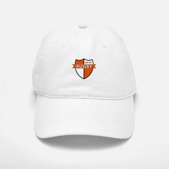 Rugby Shield White Orange Baseball Baseball Cap