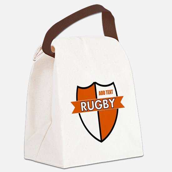 Rugby Shield White Orange Canvas Lunch Bag