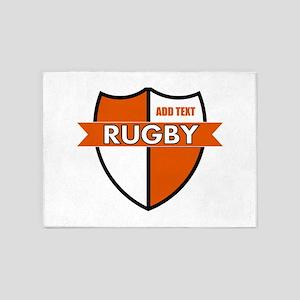 Rugby Shield White Orange 5'x7'Area Rug