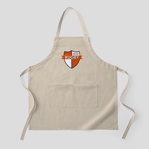 Rugby Shield White Orange Apron
