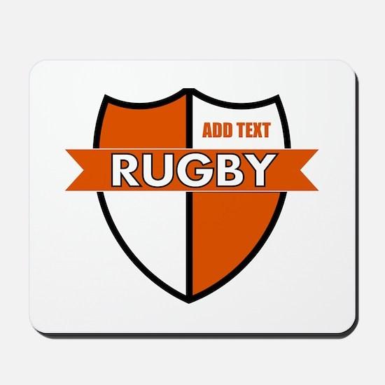 Rugby Shield White Orange Mousepad